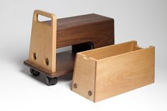 Vehicle for Children by Masahiro Minami – Modern Baby Toddler Products Covered Rv Storage, Car Storage, Trailer Storage, Storage Spaces, Wooden Blocks Toys, Wooden Toys, Wood Toys Plans, Wooden Crafts, Diy Woodworking