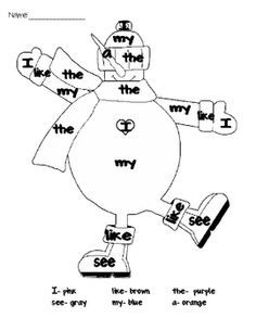 Practice sight word recognition with this cute snowman coloring page! Comes with 2 sets of sight words