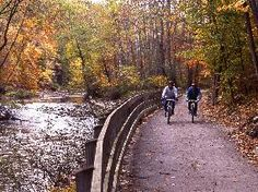 Cuyahoga Valley National Park Ohio Cyclists on Towpath Trail.
