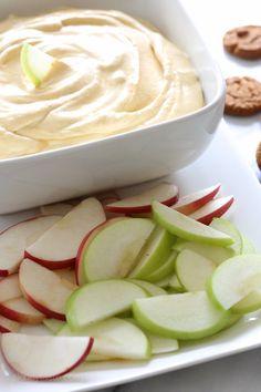 Pumpkin Pie Dip15 oz can pumpkin 3/4 cup brown sugar, not packed 1 tsp vanilla 1/8 tsp cinnamon 1/8 tsp pumpkin pie spice (or more to taste) 6 oz 0% Greek yogurt (Fage) 8 oz Truwhip cut up apples, for dipping