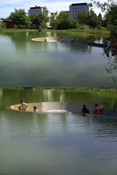 Sunken Platform in a Lake in Vöcklabruck, Austria where visitors are able to sit in the middle of a pond without getting wet. The landscape includes a path leading down to a hollowed out circular area where people can take a seat amongst nature. It's a surreal journey along the gradual ramp to the observational platform as the water level gains height either side. Once in the resting area, depending on perspective, visitors seem like they're wading in the lake without a drop of water on…