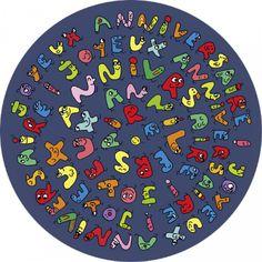 """Carole Wey carte postale ronde (13,8cm) """"Joyeux anniversaire"""", les petits animaux"""