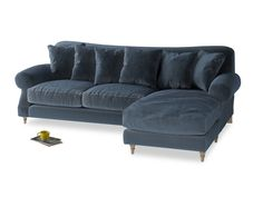 Xl Right Hand Crumpet Chaise Sofa in Liquorice Blue Clever Velvet 199214 Loaf