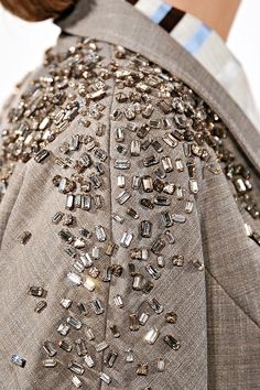 Linen jacket with a heavy scatter of sparkly crystals - casual glam; jewel embellished fashion details // Carolina Herrera