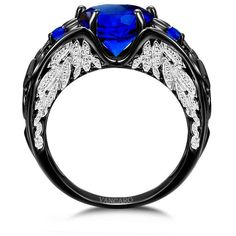 Heart Cut Lab-created Blue Sapphire Black Wedding Ring for Women with... ($159) ❤ liked on Polyvore featuring jewelry, rings, wedding rings jewelry, heart wedding rings, wedding rings, wedding band jewelry and angel wing jewelry