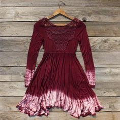 burgundy tie dye dress