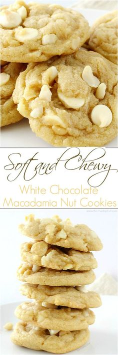 The ultimate white chocolate macadamia nut cookies. baked to soft and chewy perfection! The ultimate white chocolate macadamia nut cookies. baked to soft and chewy perfection! Cookie Desserts, Just Desserts, Delicious Desserts, Dessert Recipes, Yummy Food, Chocolate Desserts, White Chocolate Cookies, Baking Cookies, White Chocolate Recipes