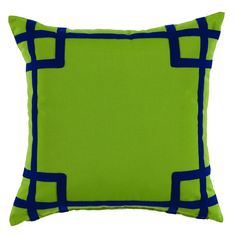 SECRET SALE! Pair of Fretwork Border Embroidered Indoor/Outdoor Pillows — Green & Navy