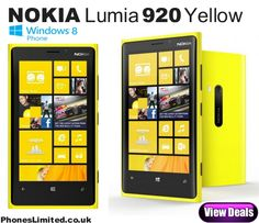 Yellow Nokia Lumia 920 deals - http://www.phoneslimited.co.uk/Nokia/Lumia+920+Yellow.html The vibrant yellow edition of the top-end Nokia Lumia 920 Windows phone has now landed on O2 contract deals, this stand-out colour scheme was first launched on T-Mobile & Orange in November last year before being made available with 4G deals on the EE LTE network shortly afterwards.  Read more http://blog.phoneslimited.co.uk/2013/03/27/nokia-lumia-920-yellow-edition-now-on-o2-deals/