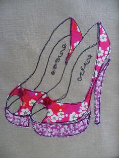 """Red and Pink """"Floral Shoes"""" Appliqued and Embroidered picture"""