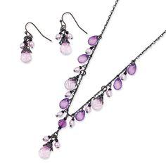 Black-plated Lt & Dk Purple Crystal Earrings & 16in Necklace Set