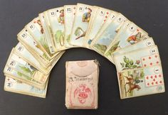 1880 Antique Dondorf # 1 Lenormand Fortune Telling Oracle Cards Tax Stamp Vtg