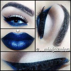 .@__missjazmina | Feeling blue  On the lid I used MAC (Vanilla) In the crease I used MAC (Saddl... | Webstagram