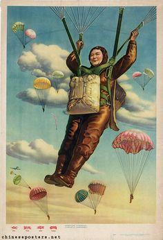 Vintage Chinese Female Parachuters Propaganda Army Poster Art Print A4