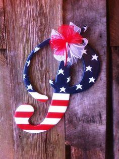 Wooden Letter Door hanger Patriotic P Astoria Font by RKDragonfly, $59.95