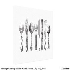 Vintage Cutlery Black White Fork Spoon Knife 1800s Canvas Print