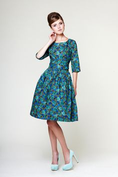 Hey, I found this really awesome Etsy listing at https://www.etsy.com/listing/164279249/1950s-green-dress-floral-dress-boat-neck