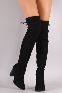 Qupid Suede Back Lace-Up Chunky Heeled Over-The-Knee Boots - Gioellia Boutique - 8
