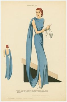 Beautiful blue gown, 1930                                                                                                                                                                                 Más