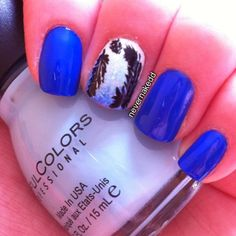 April is Autism Awareness month with blue as it's signature color - feathers accent the middle nail.