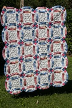 Hand Quilted Double Wedding Ring Quilt by MarthaPearceQuilt, $125.00