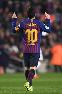 Lionel Messi Photos - Lionel Messi of Barcelona celebrates after scoring his teams first goal during the La Liga match between FC Barcelona and Real Valladolid CF at Camp Nou on February 2019 in Barcelona, Spain. - Lionel Messi Photos - 1060 of 14160 Barcelona Fc, Lionel Messi Barcelona, Barcelona Soccer, Barcelona Tattoo, Leonel Messi, Messi And Ronaldo, Messi 10, Cristiano Ronaldo, Alabama Football