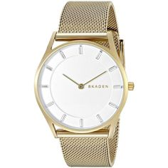 Skagen Women's SKW2377 'Holst Slim' Gold-Tone Stainless Steel Watch ($134) ❤ liked on Polyvore featuring jewelry, watches, white, white dial watches, snap jewelry, stainless steel watches, gold-tone watches and skagen watches