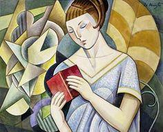 Jovem mulher lendo um livro, s/d Bela de Kristo ( Hungria, 1920-2006) óleo sobre tela
