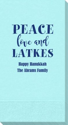 Personalized Peace Love And Latkes Guest Towels
