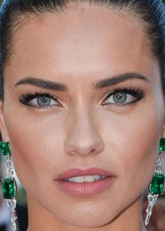 Close-up of Adriana Lima at the 2016 Cannes premiere of 'Julieta'. http://beautyeditor.ca/2016/05/24/cannes-film-festival-2016 #ad