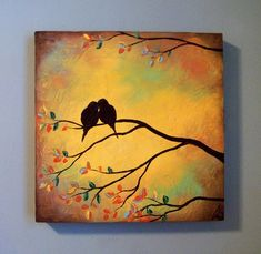 I want to make a quilt using my favorite images. I want to make a quilt using my favorite images. Small Canvas Paintings, Paintings I Love, Easy Paintings, Acrylic Painting Canvas, Diy Painting, Painting & Drawing, Canvas Art, Love Birds Painting, Encaustic Art