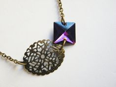 Purple Swarovski Crystal Necklace Golden by LadyRebelDesigns, $30.00