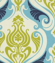Chartreuse, teal, and navy fabric!  Would make great curtains.