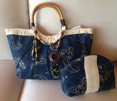 Blue Paisley Tote Bag for any occasion as a Weekend bag or Shopping bag. Large enough to carry anything comes with a match cosmetic bag.    WE