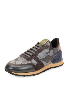 b2966377c8597d Red Valentino Camo Butterfly-Print Leather Sneaker