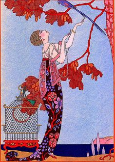 Woman Cajoling Escaped Bird in Tree George Barbier 1914