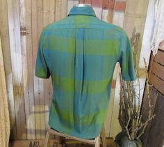 60s vintage shirt Plaid Rayon Turquoise Green by funkomavintage, $36.00