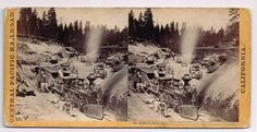 Stereoview CPRR Hart 60 Train Dixie Cut Locomotive Close View RR Workers Loco | eBay