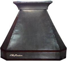 Custom handmade zinc oven hood with smooth and hammered surface. #myCustomMade #rangehoods #homeimprovement #kitchendesign