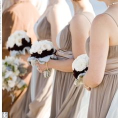 To coordinate with their color-block dresses, the bridesmaids carried multicolored bouquets of white garden roses surrounded by rings of chocolate cosmos and lamb's ear Beach Wedding Bridesmaid Dresses, Beach Wedding Bridesmaids, Beach Weddings, Beach Wedding Inspiration, Wedding Ideas, Wedding Stuff, Dream Wedding, Beach Wedding Photography, Photography Ideas