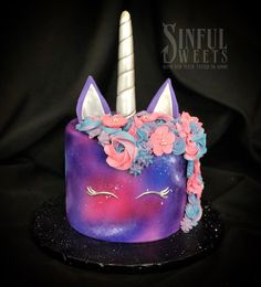 """""""Galactic Unicorn""""✨💙🦄  _________ #teambrittney #customcake #unicorncake #galactic #birthdaycake #cakery #parkave #feedyourgreed #sinisin #legalizefrostitution"""