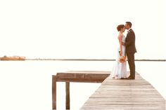 romantic bride and groom portraits on the pier, rustic vintage chic wedding, K & K Photography