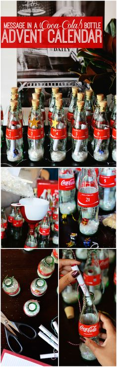 DIY Message in a Coke Bottle Advent Calendar - Use glass coca-cola bottles to create an easy and festive homemade Christmas advent calendar. Click for the easy DIY tutorial and decorating tips.