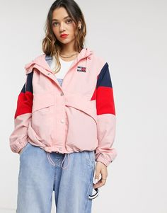 Buy Tommy Jeans contrast colour block windbreaker at ASOS. Get the latest trends with ASOS now. Asos, Borg Jacket, Slim Mom Jeans, Combat Pants, Crop Top Bikini, Mesh Long Sleeve, Sleeveless Crop Top, Pink Jacket, Windbreaker Jacket