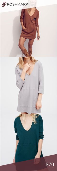 Free People Phoenix Mini dress Pullover Tunic this fits more like a long top it has a pocket in the middle super cute green and grey left Free People Tops Tunics