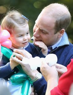 Princess Charlotte of Cambridge and Prince William, Duke of Cambridge at a children's party for Military families during the Royal Tour of Canada on September 29, 2016 in Victoria, Canada.