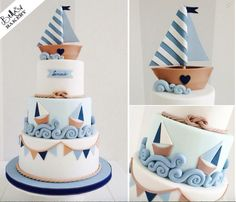Lovely boat cake for the sailors Gateau Baby Shower, Baby Shower Cakes, Nautical Cake, Sailboat Cake, Nautical Party, Sea Cakes, Pink Cakes, Baby Boy Cakes, Novelty Cakes