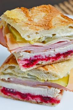 Roast Turkey Cuban Sandwich - File this away for the day after Thanksgiving! Roast Turkey Cuban Sandwich - dijon mustard, cranberry sauce, roast turkey breast, swiss cheese, and smoked ham. It's the cranberry sauce that makes it so good! Think Food, I Love Food, Good Food, Yummy Food, Fun Food, Tasty, Food Art, Kubanisches Sandwich, Soup And Sandwich
