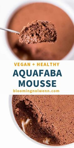 Vegan Chocolate Mousse with Aquafaba is fluffy, healthy, easy to make and so delicious! It's a great dessert that everyone will love! #aquafaba #chocolatemousse #vegandessertrecipes