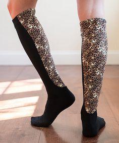 Look what I found on #zulily! Black & Leopard Wide-Calf Xpandasox® Socks by Xpandasox #zulilyfinds